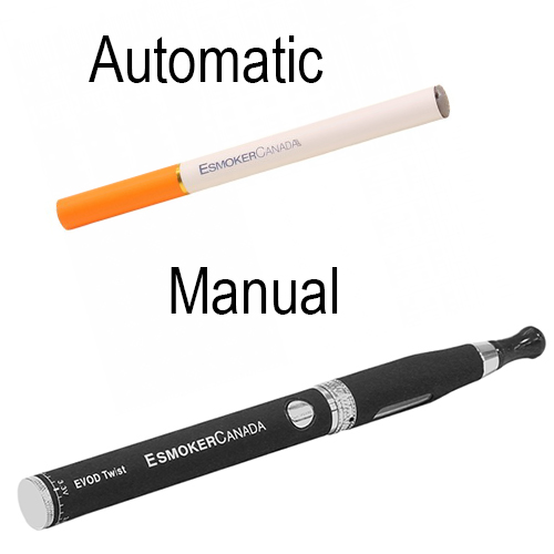 image of an Automatic electronic cigarette versus manual e-cig