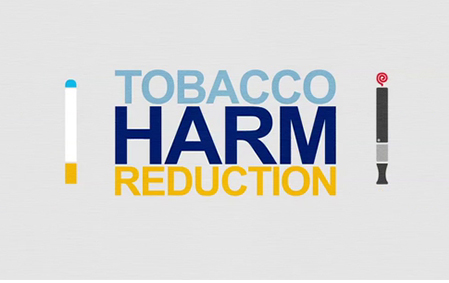 text that says tobacco harm reduction with image of illustration of electronic cigarettes