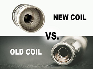 A brand new electronic cigarette heater coil compared to an burnt out heater coil