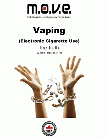 Cover of a report on vaping from the Medical Organizations supporting vaping and electronic cigarettes. It shows hands breaking a chain made of cigarettes