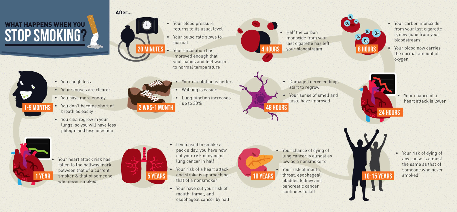 infographic timeline of what happens to your body when you quit smoking