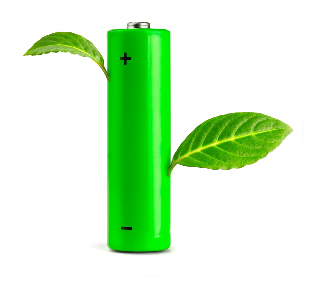 green battery with leaves on it portraying batteries as environmentally friendly