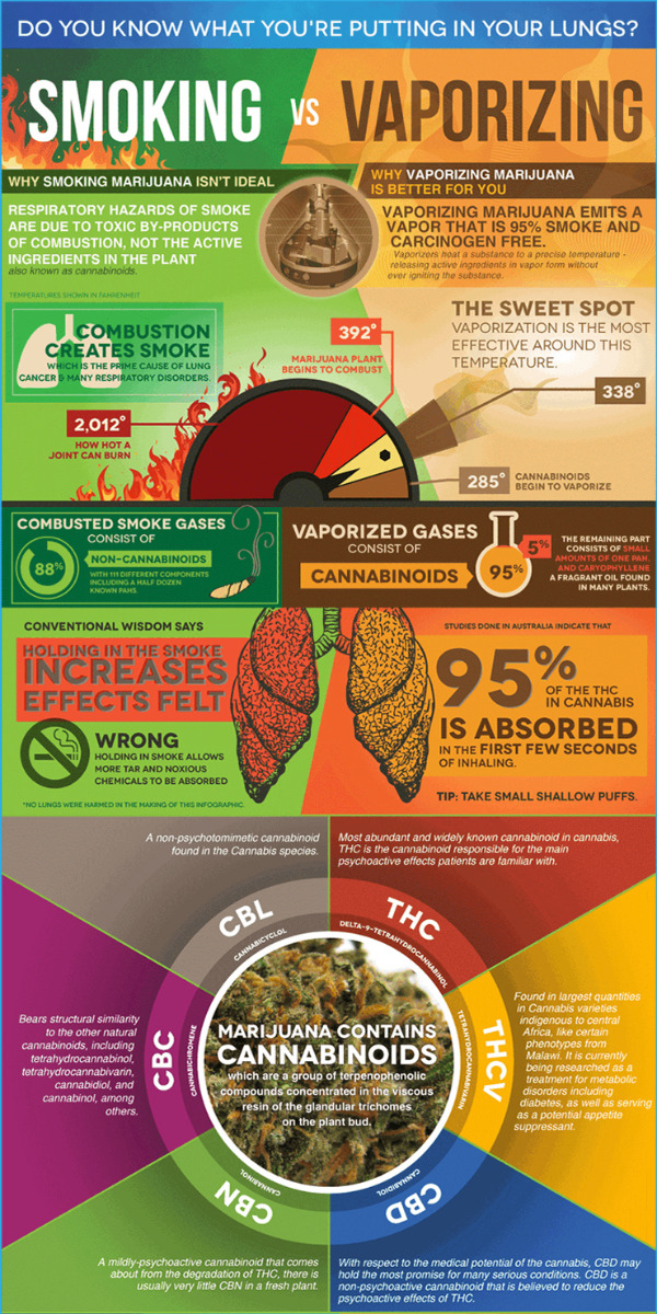 infographic showing the difference between smoking versus vaporizing dry herbs or extracts