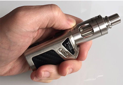 close up of hand holding Chrome Vaporesso Target Mini 40W