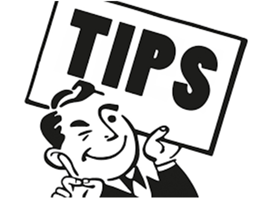 "illustration in black and white with a man holding a sign that says ""Tips"""