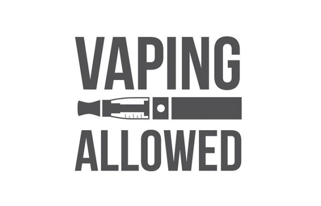 Text that saying vaping allowed with illustrated image of electronic cigarette